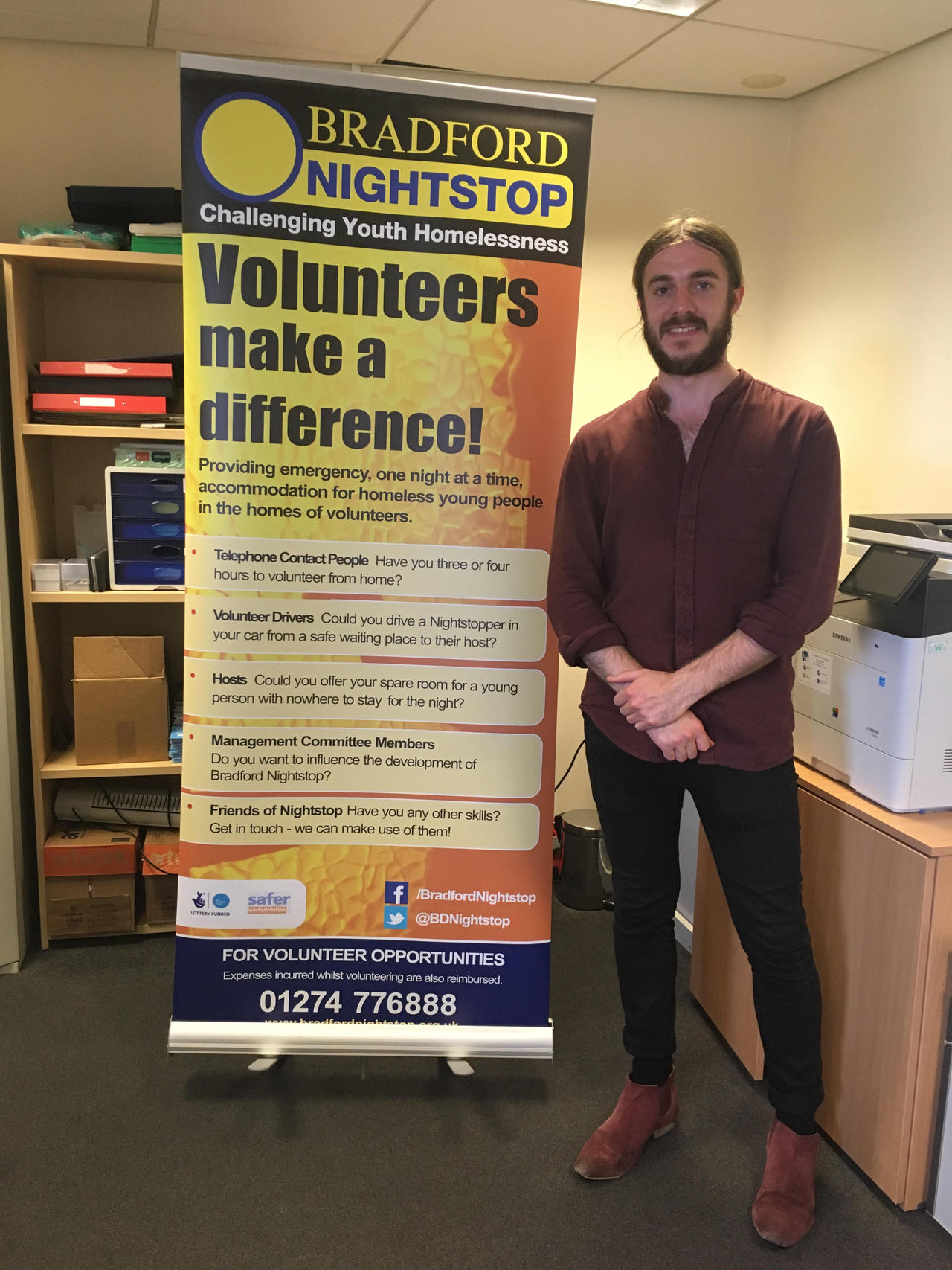 Saw Lawrence on a recent visit to the Bradford Nightstop office.